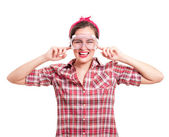 Woman stops her ears from unbearable construction noise — Stock Photo