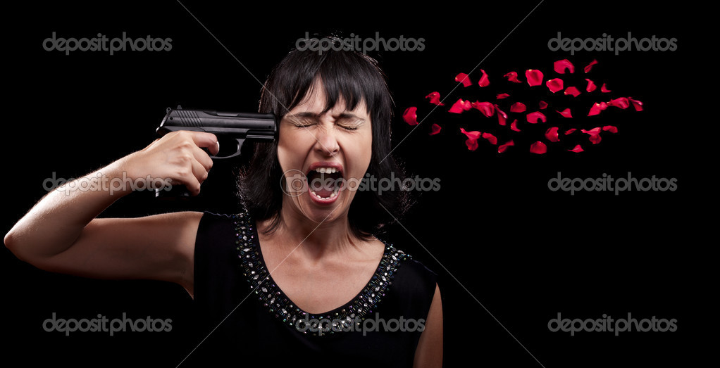 Screaming woman suicide gun shot - Stock Image