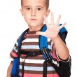 Little boy elementary student with backpack and sandwich box sho — Stock Photo #6160668