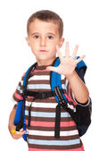 Little boy elementary student with backpack and sandwich box sho — Stock Photo