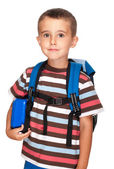 Little boy elementary student with backpack and sandwich box — Stock Photo