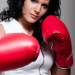 Boxing fighter woman attack — Stock Photo