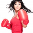 Boxing fighter woman turn back — Stock Photo