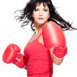 Stock Photo: Boxing fighter woman turn back