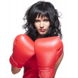 Boxing fighter woman in defence position — Stock Photo