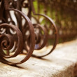 Wrought Iron Fence Detail - Stock Photo