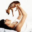 Lady with dog — Stock Photo #5736948