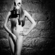 Girl in a gas mask — Stockfoto