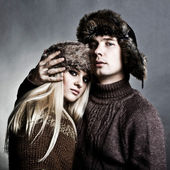 Winter fashion man and woman — Stock Photo