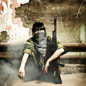 The armed Arabian woman terrorist — Stock Photo