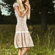 Romantic woman at fairy forest — Stock Photo