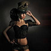 Beautiful steam punk lady — Stock Photo