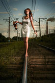 On railway tracks — Stock Photo