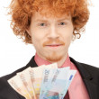 Handsome man with euro cash money - Foto Stock