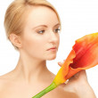 Beautiful woman with calla flower — Stock Photo #5447377