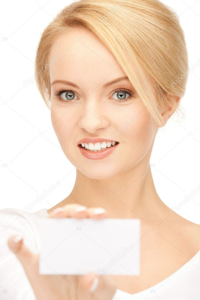 Bright picture of confident woman with business card — Stock Photo #5447386