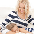 Happy mother and sleeping girl - Lizenzfreies Foto