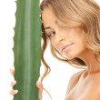 Lovely woman with aloe vera — Stockfoto #5459585