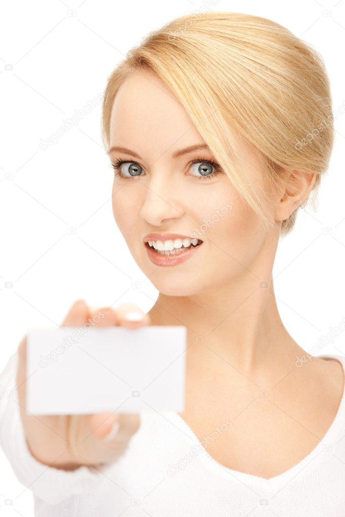 Bright picture of confident woman with business card — Stock Photo #5459645