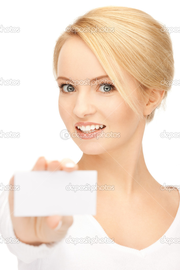 Bright picture of confident woman with business card — Lizenzfreies Foto #5459645