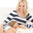 Happy mother and sleeping girl - Foto de Stock