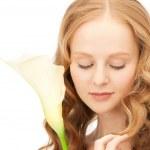 Beautiful woman with calla flower — Stock Photo #5471450