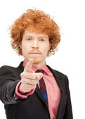 Businessman pointing his finger — Stock Photo