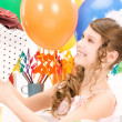 Party girl with balloons and gift box — Stock Photo #5492306