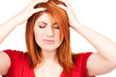 Unhappy redhead woman — Stock Photo