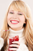 Happy teenage girl with raspberry jam — Stock Photo