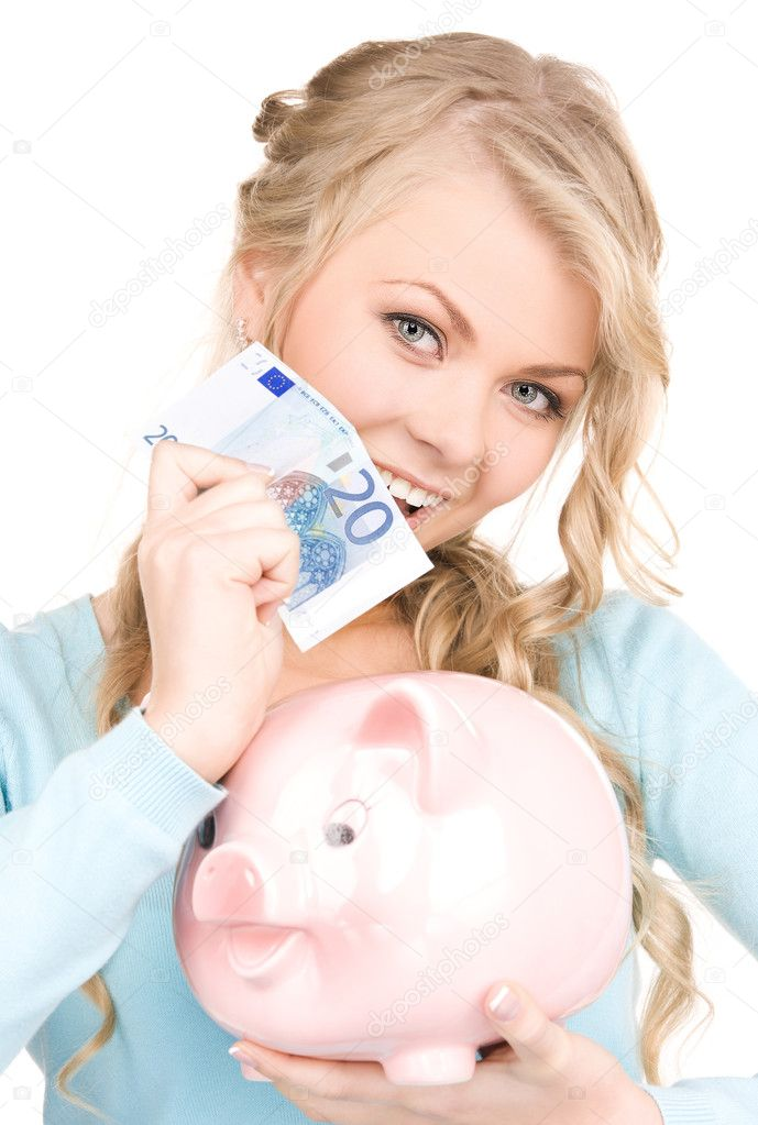 Picture of lovely woman with piggy bank and money — Stock Photo #5502005