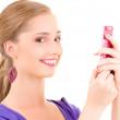 Happy teenage girl with cell phone - Foto de Stock