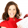 Happy woman with gift box — Stock Photo #5517504