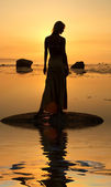 Seashore silhouette — Stock Photo