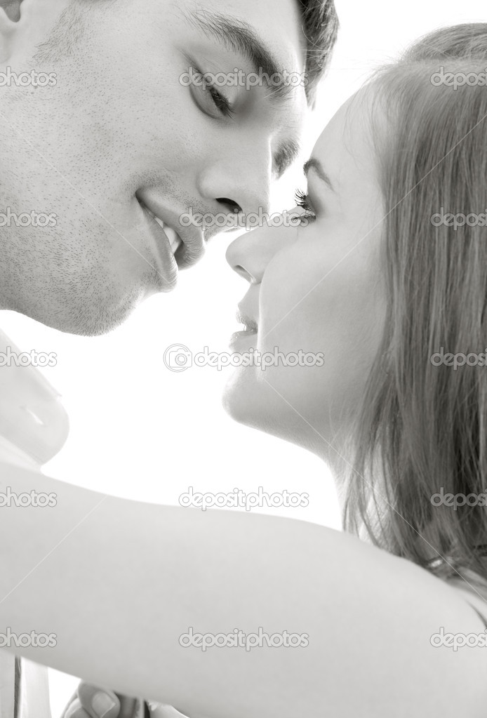 Monochrome picture of couple in love over white — Stock Photo #5517240