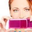 Happy woman using phone camera — Stock Photo #5524789