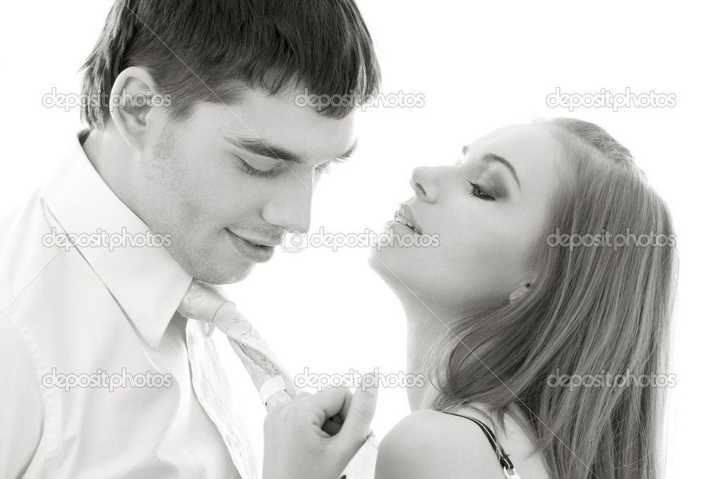 Monochrome picture of couple in love over white  Stock Photo #5524669