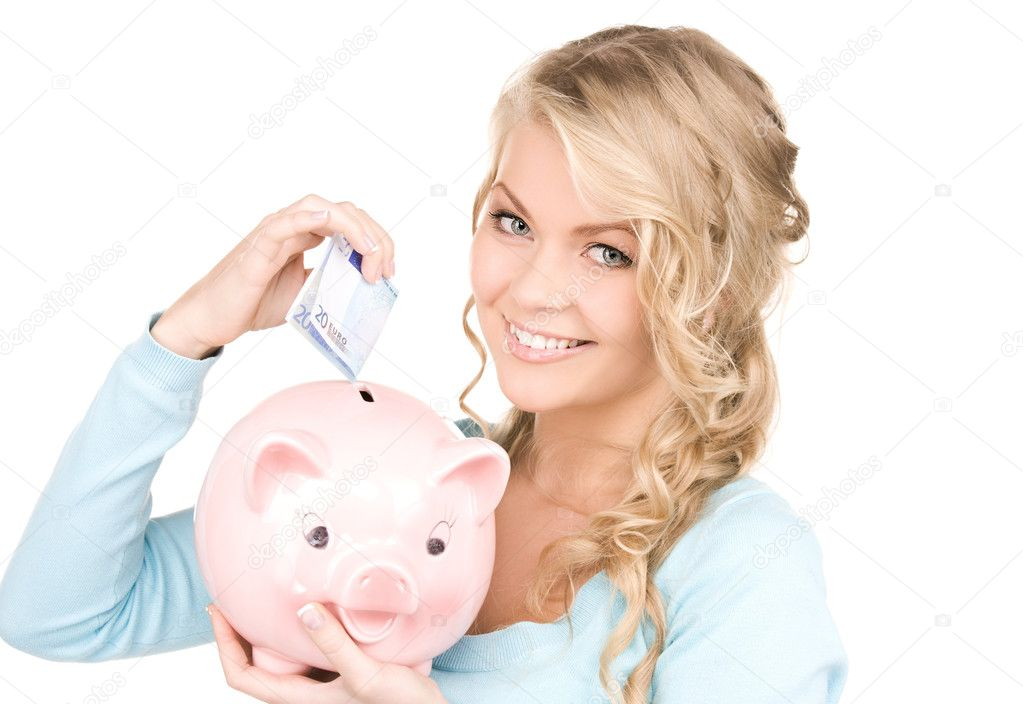 Picture of lovely woman with piggy bank and money — Lizenzfreies Foto #5524914