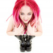 Pink hair girl in high boots — Stock Photo #5532866