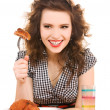 Young attractive woman in the kitchen — Stock Photo #5533002