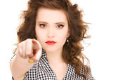Woman pointing her finger — Stock Photo