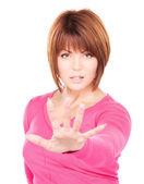 Businesswoman making stop gesture — Stock Photo
