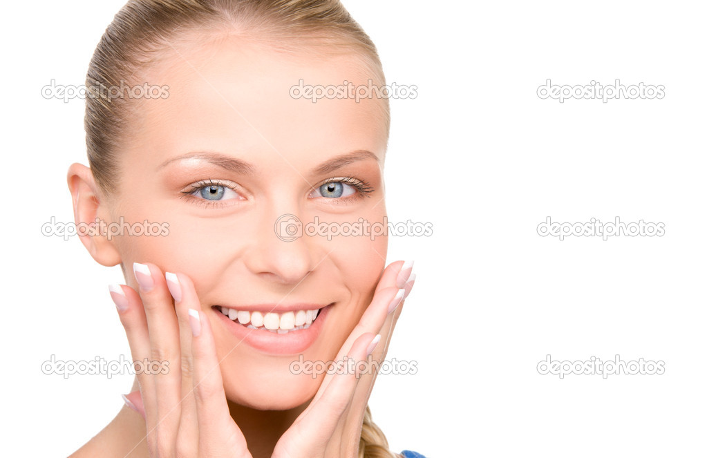 Bright picture of surprised woman face over white — Stock Photo #5533279