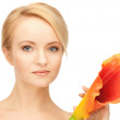Beautiful woman with calla flower — Stock Photo