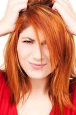 不开心红头发女人 — 图库照片