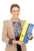 Donna con cartelle — Foto Stock