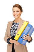 Woman with folders — Fotografia Stock