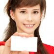 Teenage girl with business card — Stock Photo #5665150
