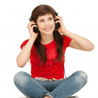 Happy teenage girl in big headphones — Stock Photo #5665169