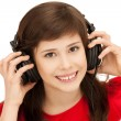 Happy teenage girl in big headphones — Stock Photo #5665177